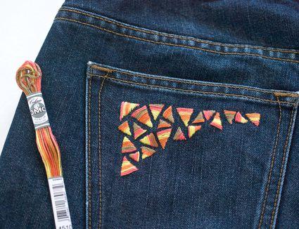Embroidered Denim Pocket