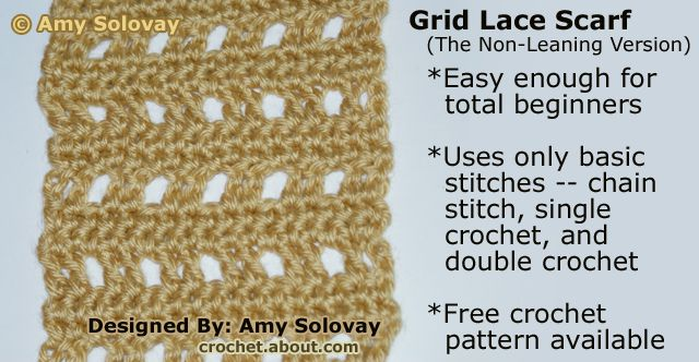 The non-leaning version of the grid lace crochet scarf