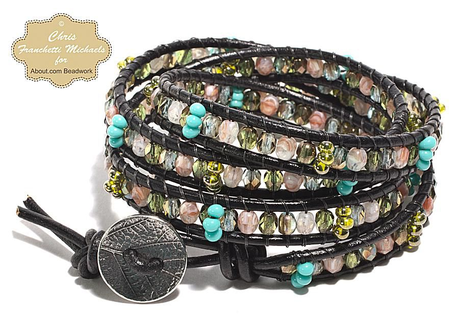 Leather Wrap Bracelet Pattern With Czech Gl Beads