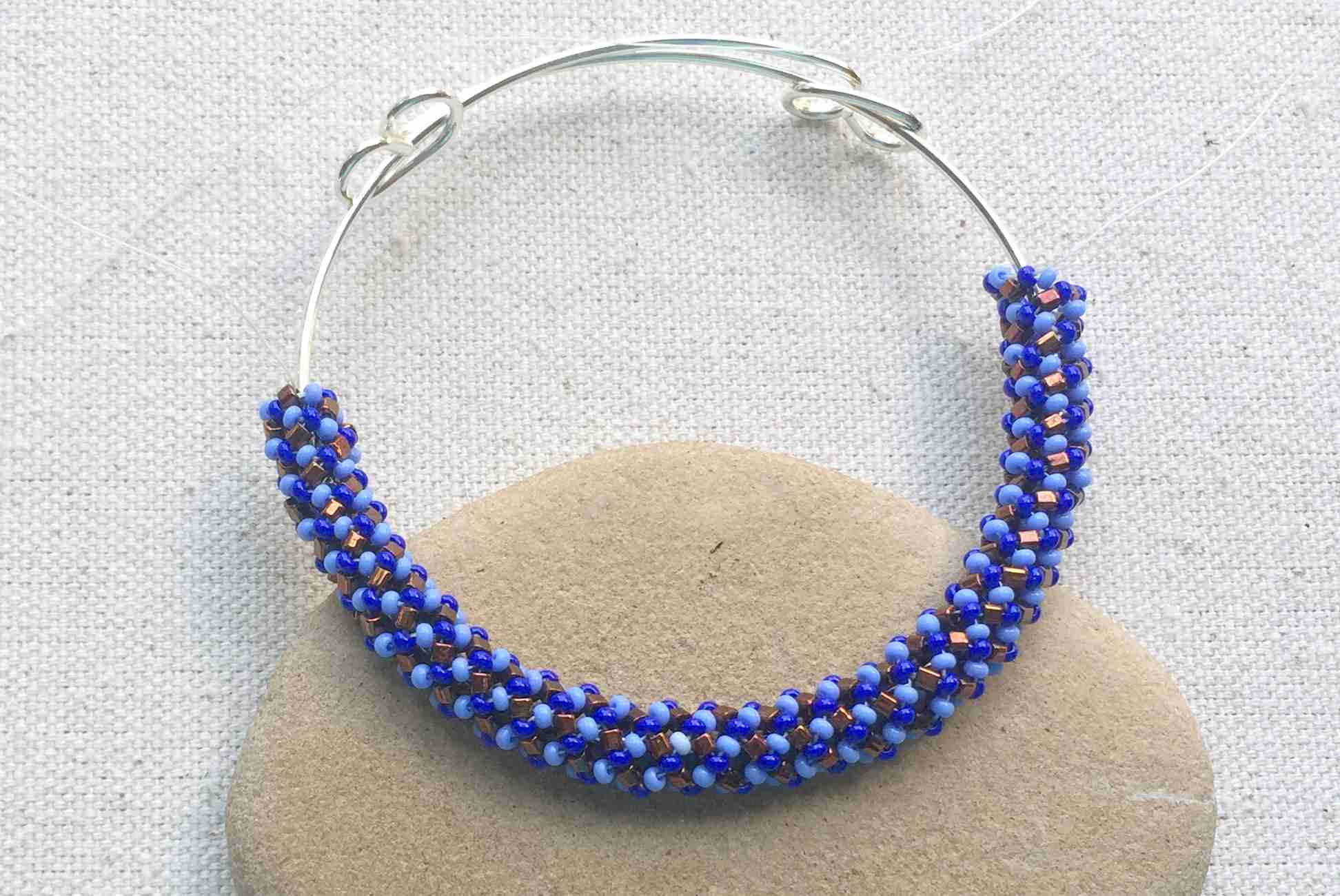 Russian Spiral Stitch Bangle Bracelet