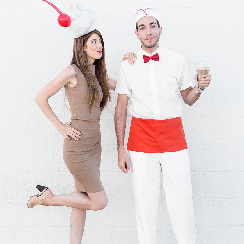 DIY milkshake and soda jerk couples costume