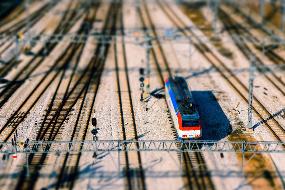 A model train on a track.
