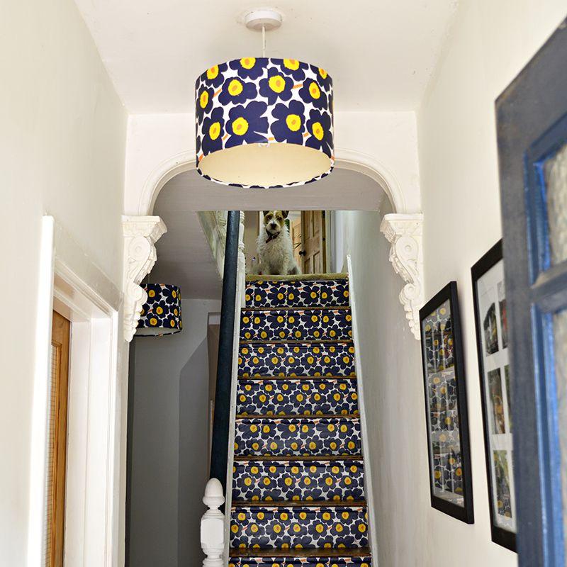 marimekko lamp and stairs