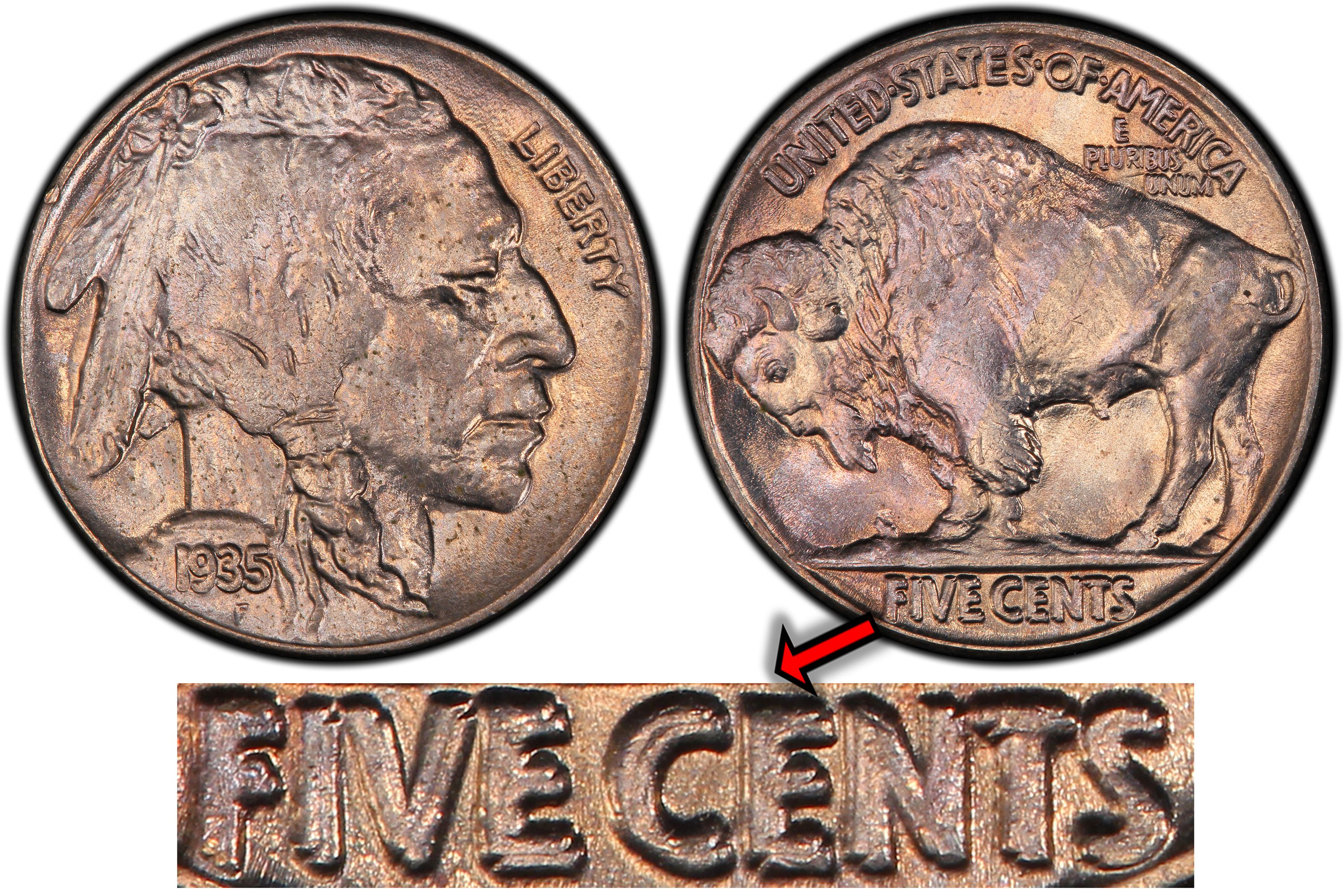 bbcbc80a06c5 1935 Buffalo nickel double die reverse