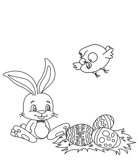 Easter Bunny Coloring Pages At Hello Kids An Chick And Eggs