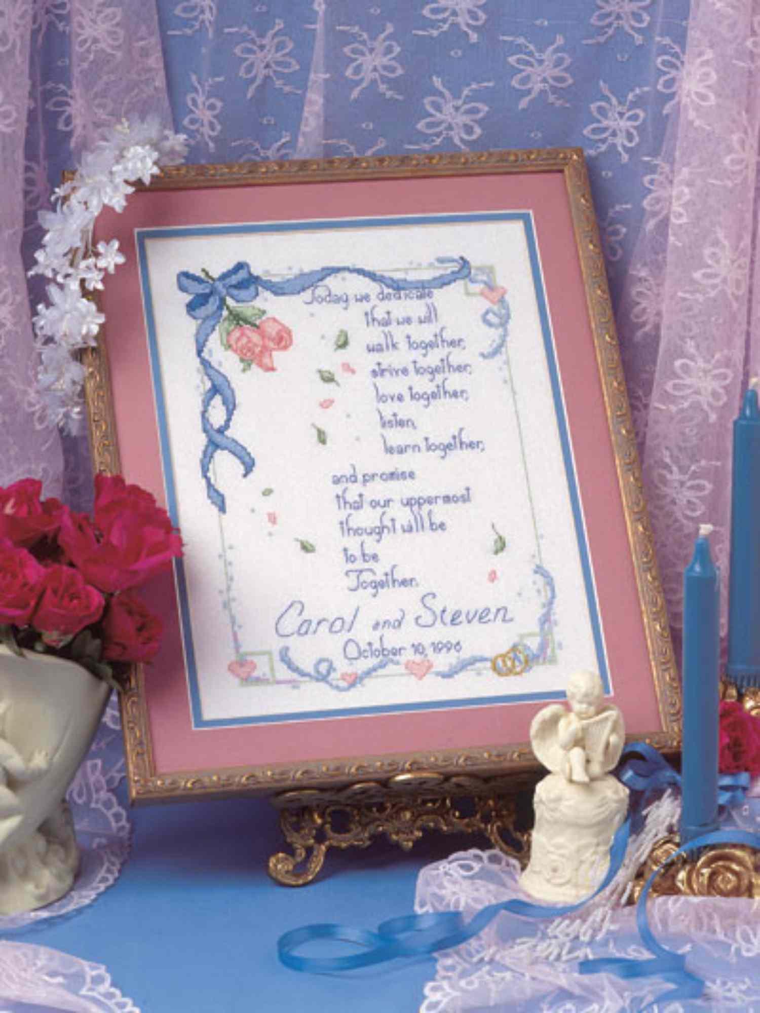 cross stitch recording wedding day