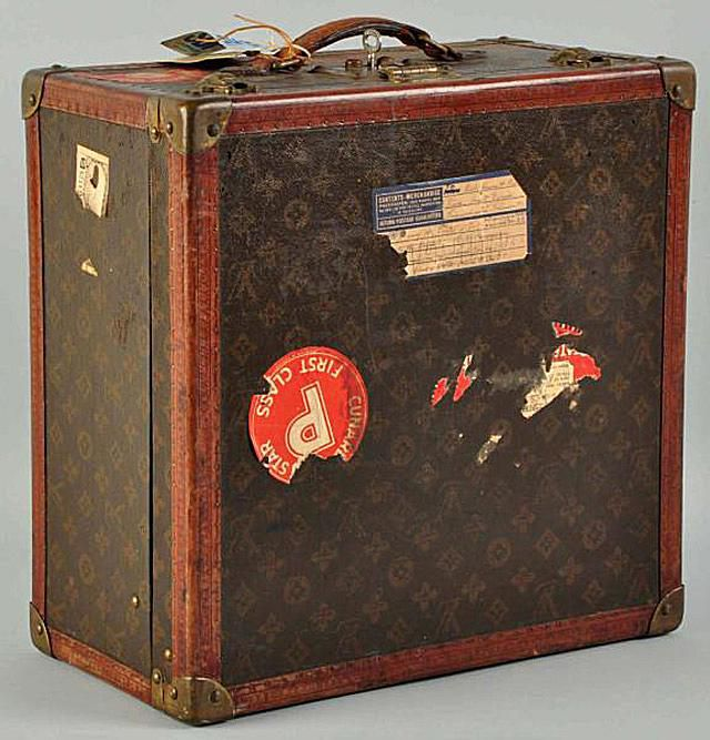 Louis Vuitton Classic luggage with Cunard first class sticker