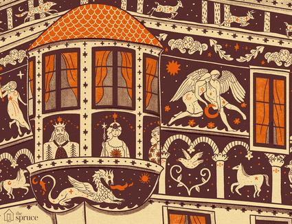 Illustration of Sgraffito art on a building