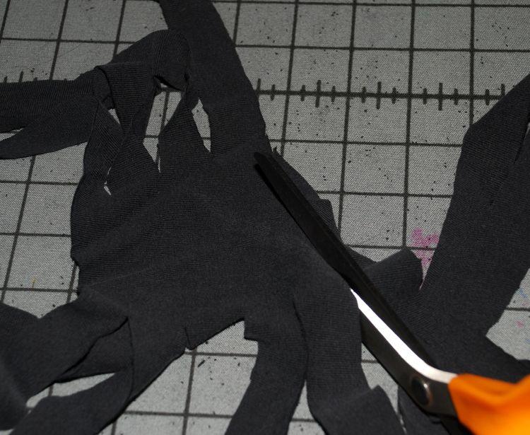 Cutting apart T-shirt for yarn