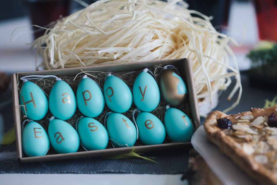 Close-Up Of Easter Eggs In Box On Table
