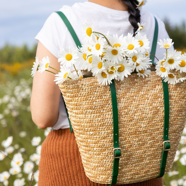Basket Backpack filled with flowers