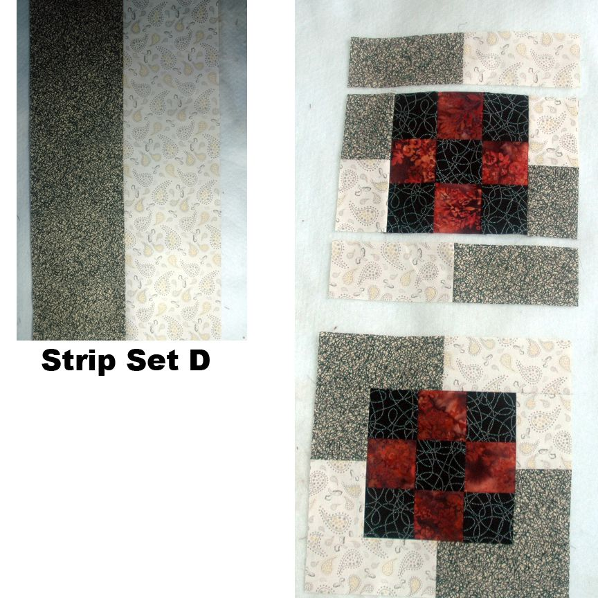 Sew D strip sets and segments