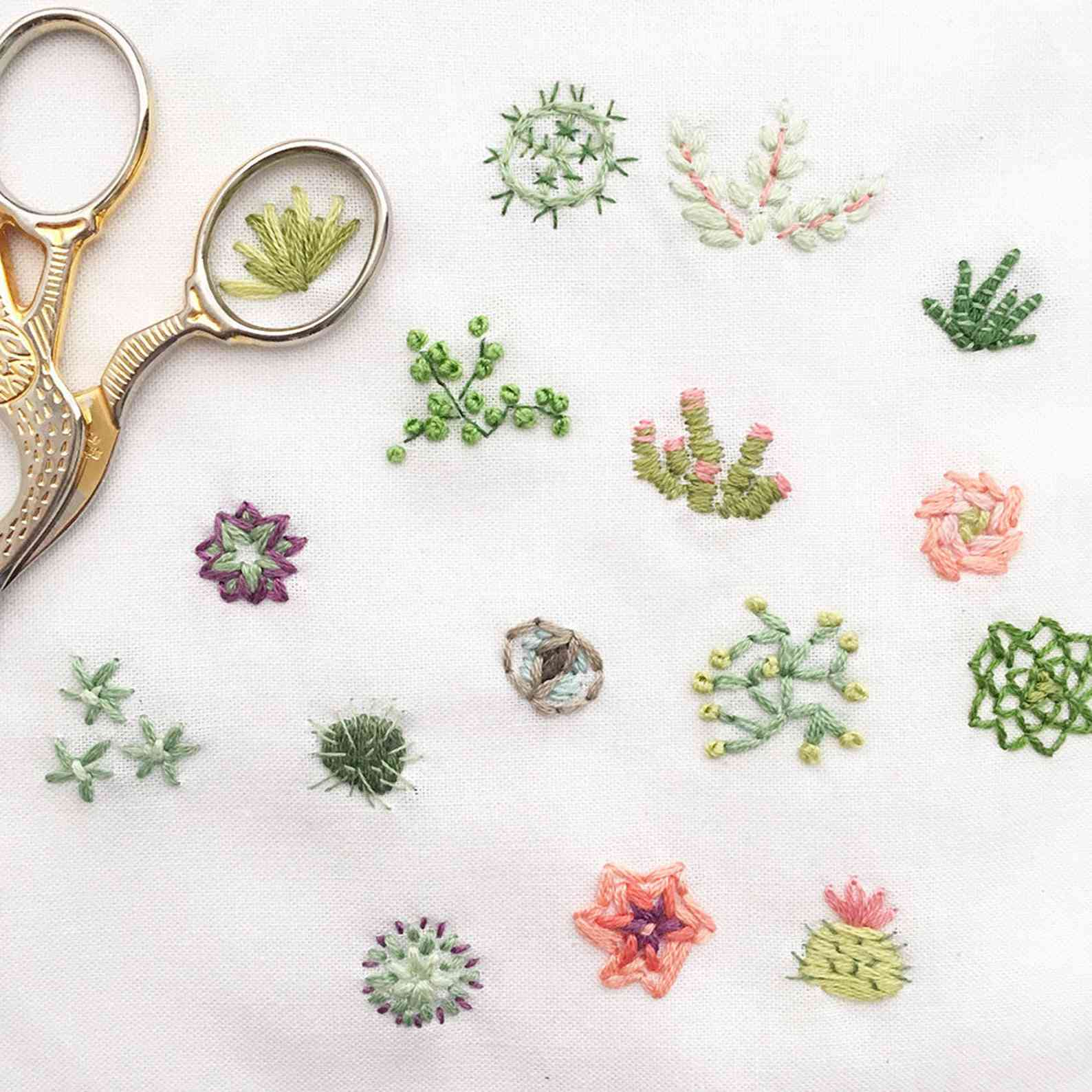 Tiny Succulents Hand Embroidery Pattern