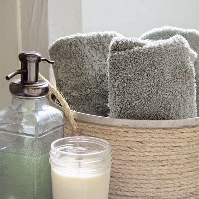 DIY Bathroom Decor Idea - sauce pot basket