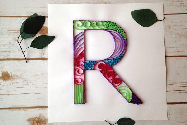 letter R quilled monogram