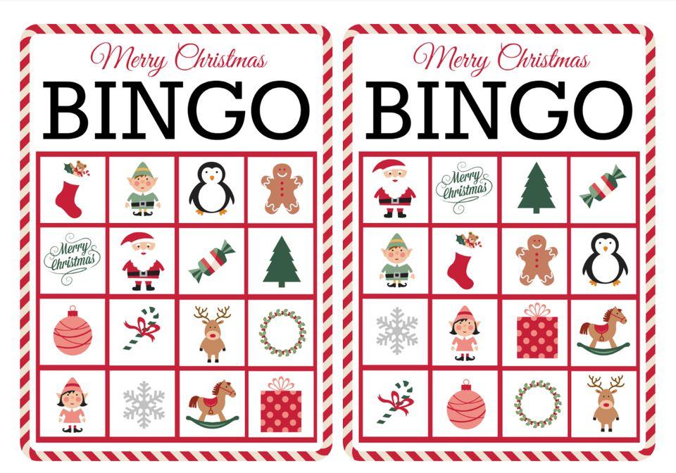 Two colorful Christmas bingo cards