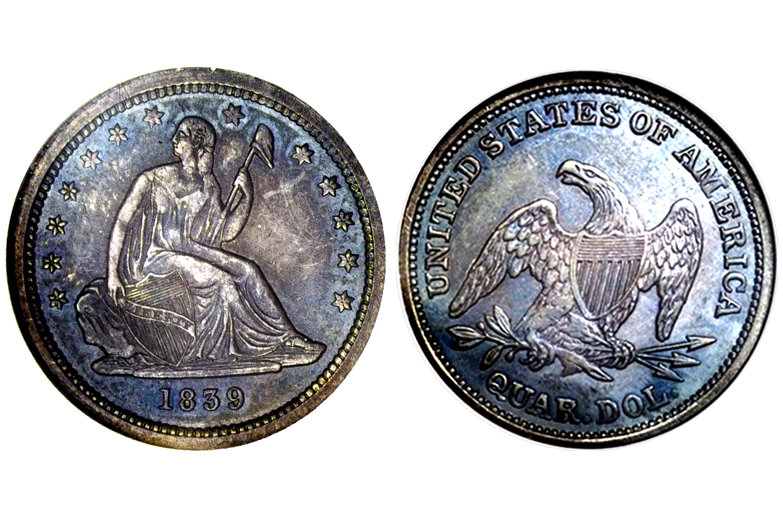 1839 Proof Liberty Seated Quarter - No Drapery