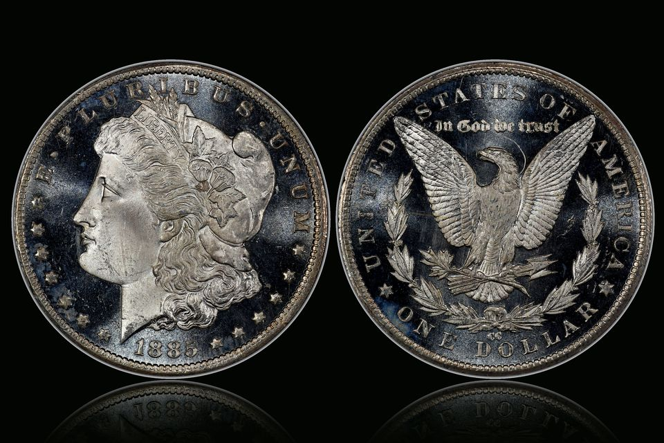1885-CC Morgan silver dollar with deep mirror proof -like surfaces