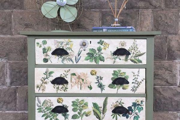 floral decoupaged dresser