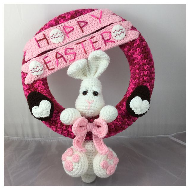 This crochet bunny wreath wishes you a Hoppy Easter