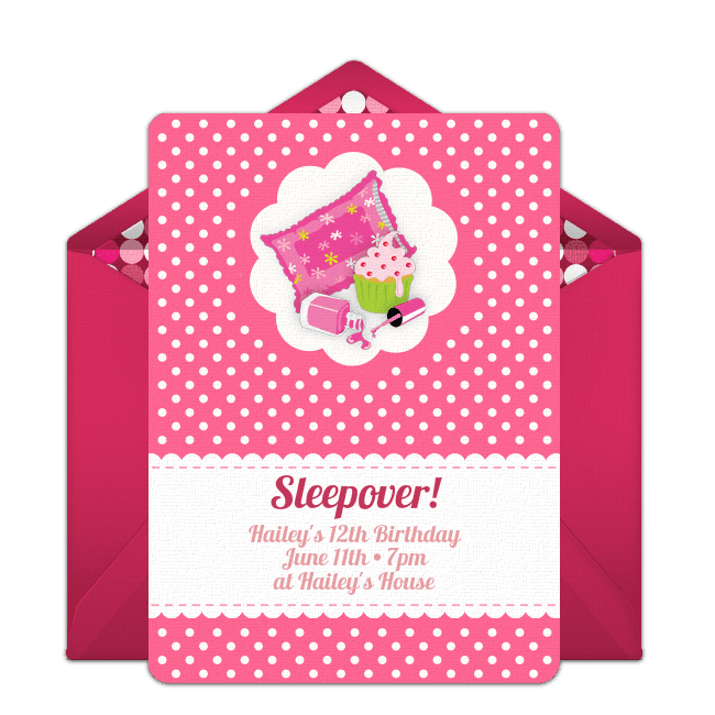 A Pink And White Online Sleepover Invite