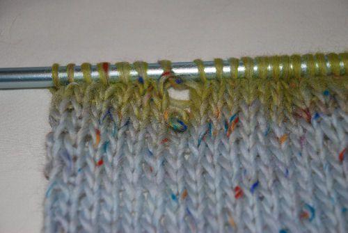 Dropped knit stitch.