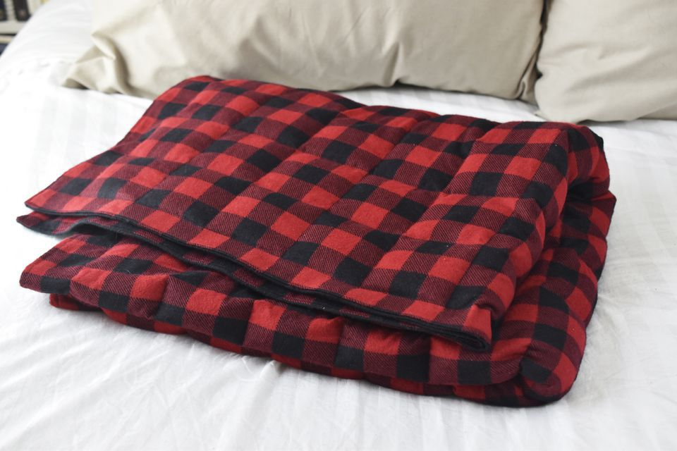 Red plaid weighted blanket