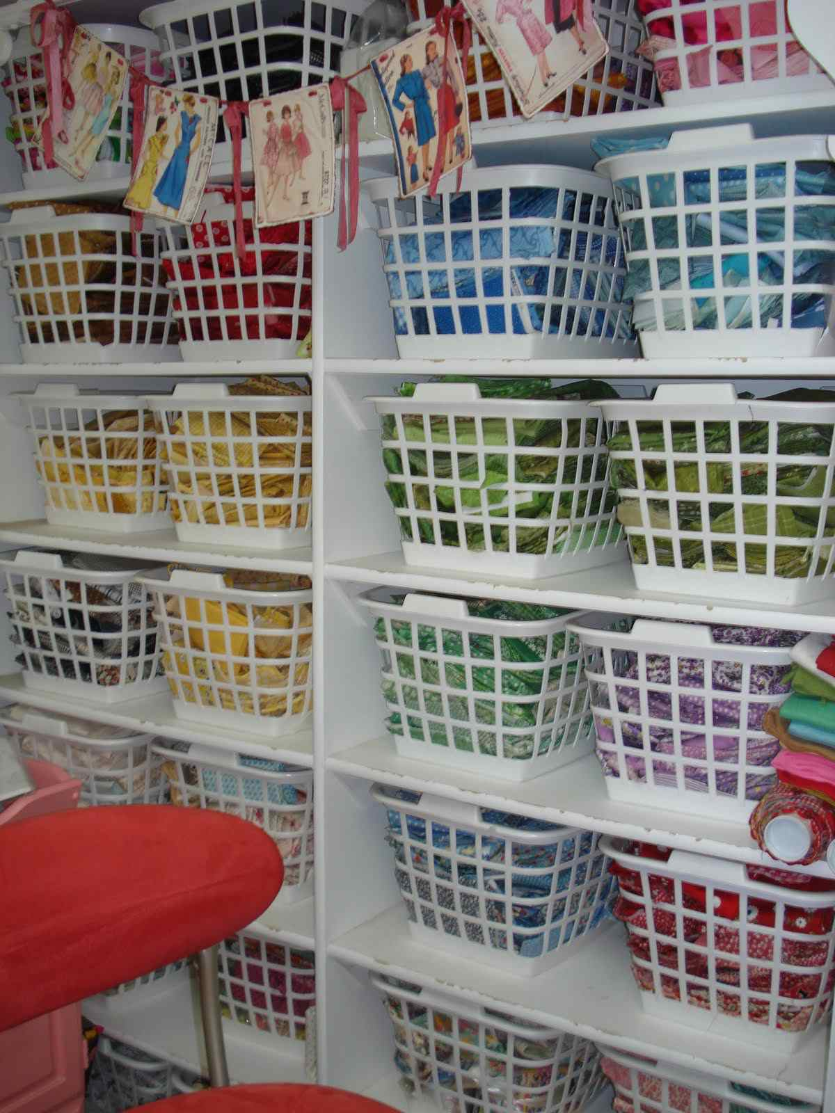 fabric in laundry baskets