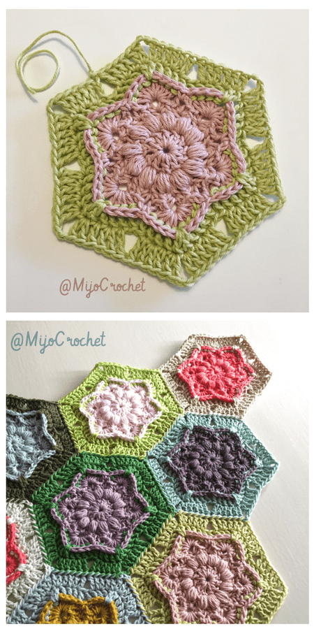 9 free crochet flower patterns wind flower hexagon free crochet pattern ccuart Gallery