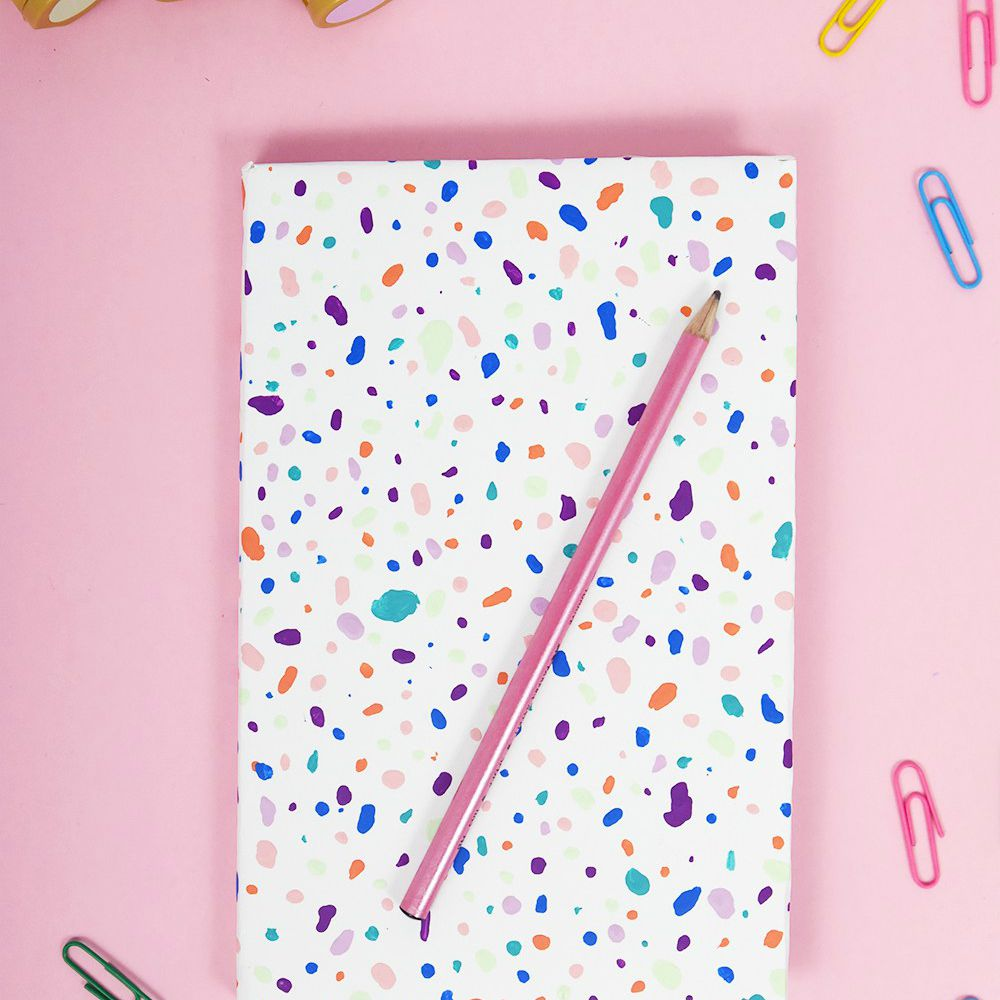 terrazzo style decorated notebook