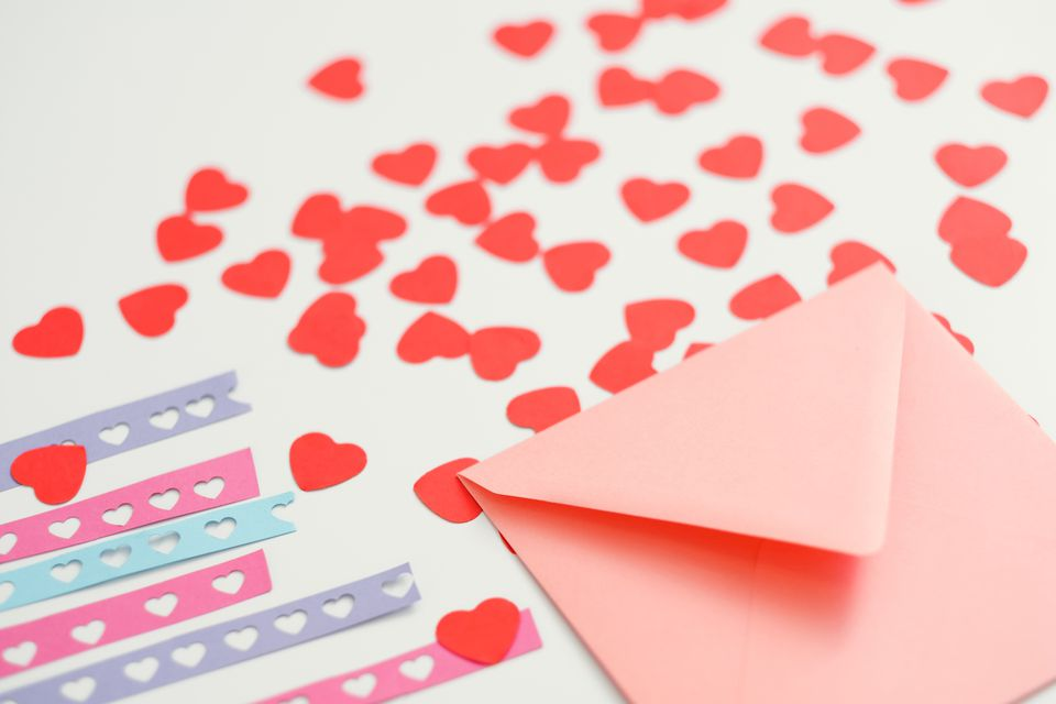Heart stencils and an envelope