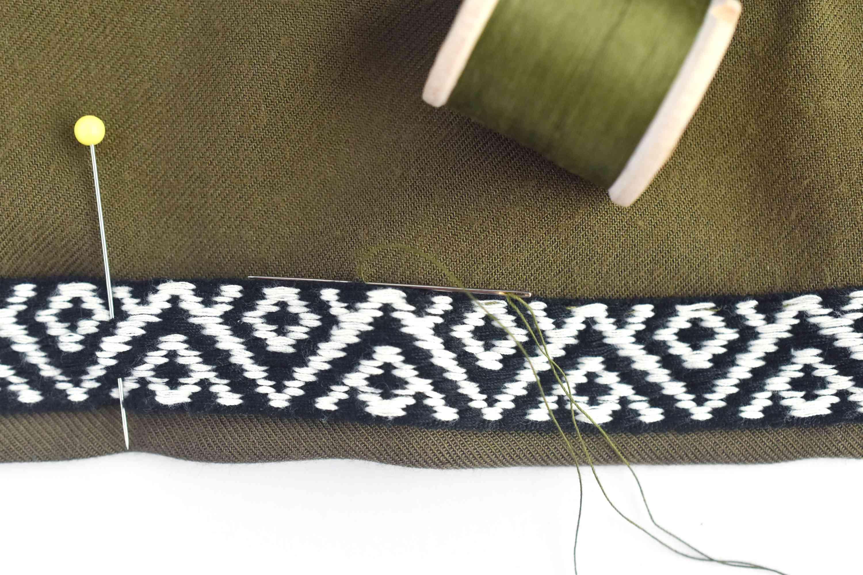 Hand stitching a skirt hem with slip stitch