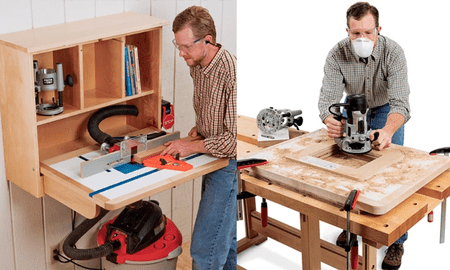 9 free diy router table plans you can use right now pictures of a man building and using a router table keyboard keysfo Images