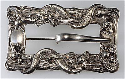 Victoiran Sash Pin with Garden of Eden Serpent and Apple Motif