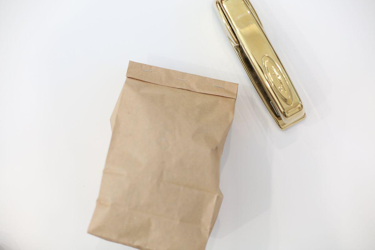 paper bag and stapler