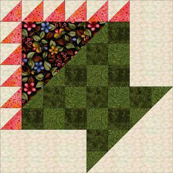 Checkerboard Flower Basket Quilt Block Pattern