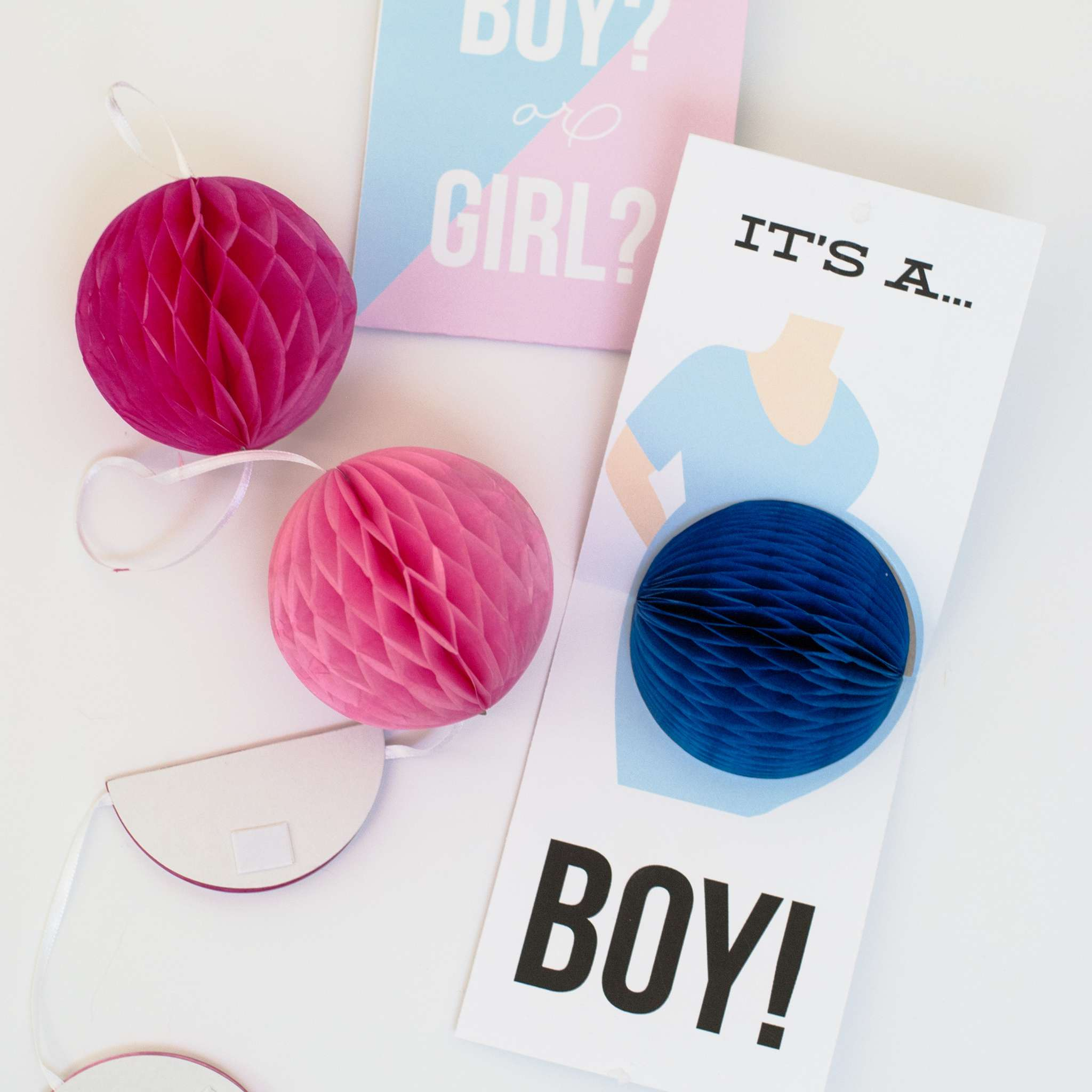 Gender reveal pop-up cards.
