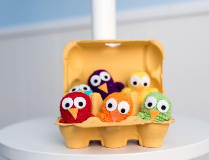 crocheted chicks in egg carton