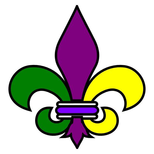 A green, purple, and yellow Mardi Gras symbol