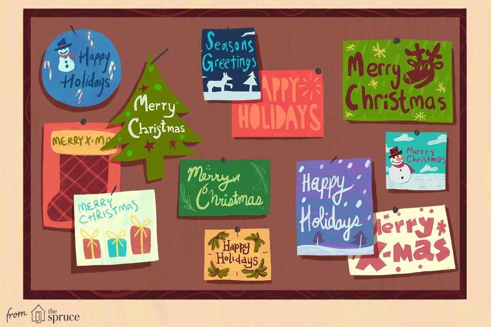 An illustration of different holiday cards