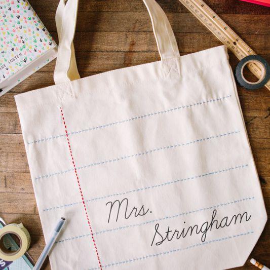 Personalized DIY Teacher Tote Bag