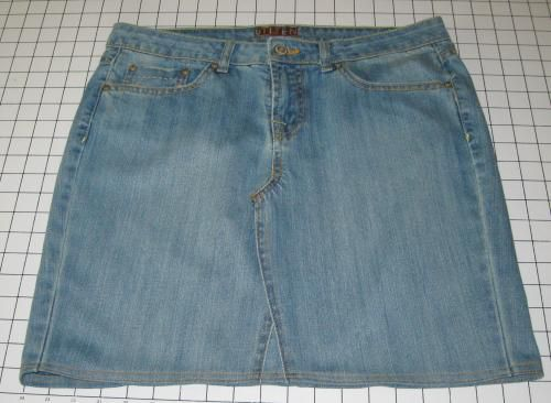 step by step directions to convert Jeans in to a Denim Skirt