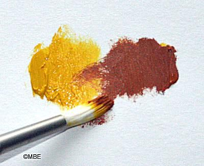 Blending paint colors.