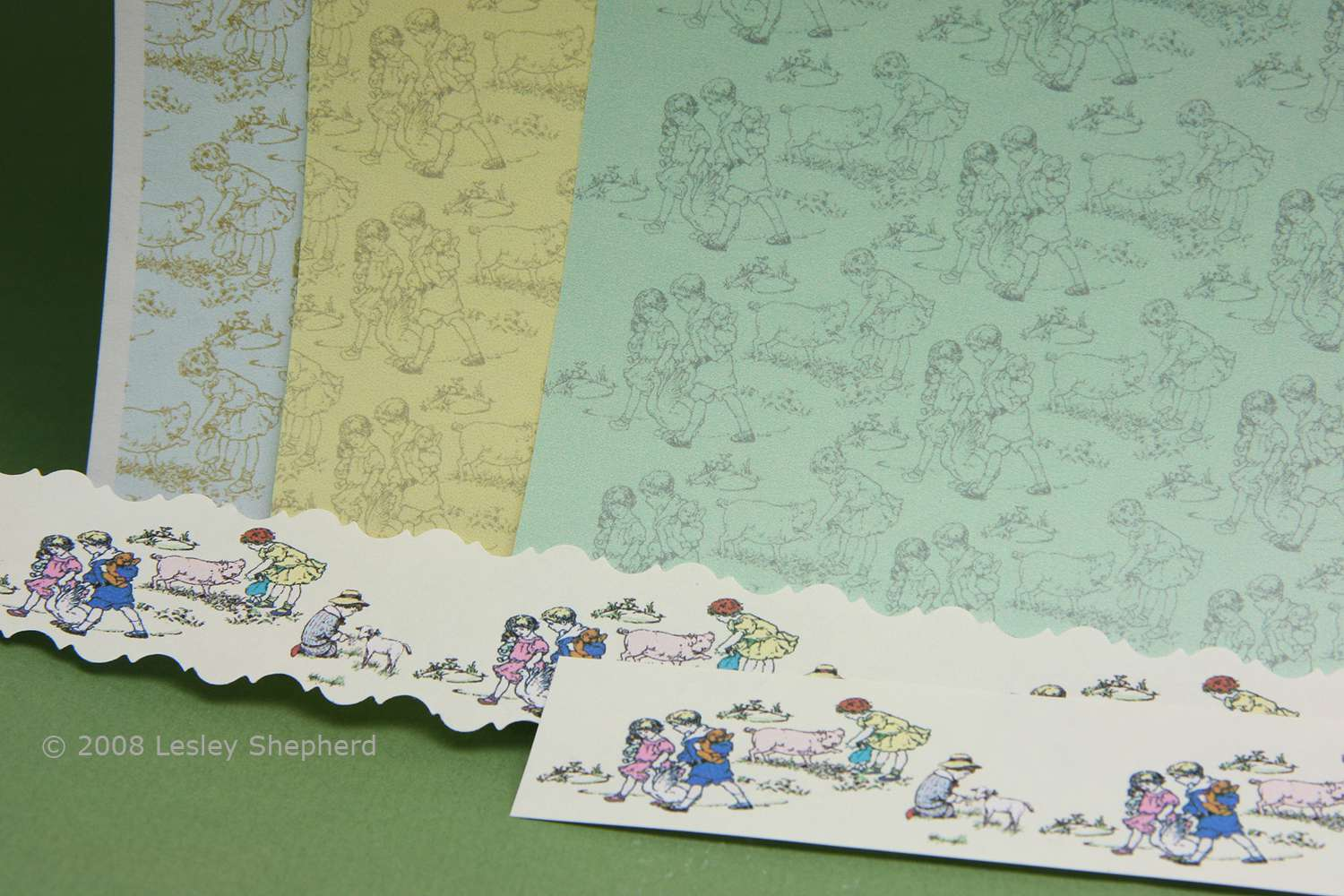 Three colorways of 1:12 scale dolls house scale toile wallpaper with children and animals.