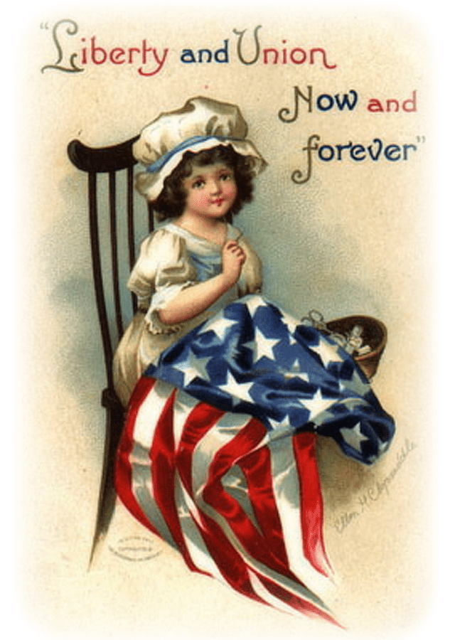Illustration of a woman in a rocking chair sewing the American flag