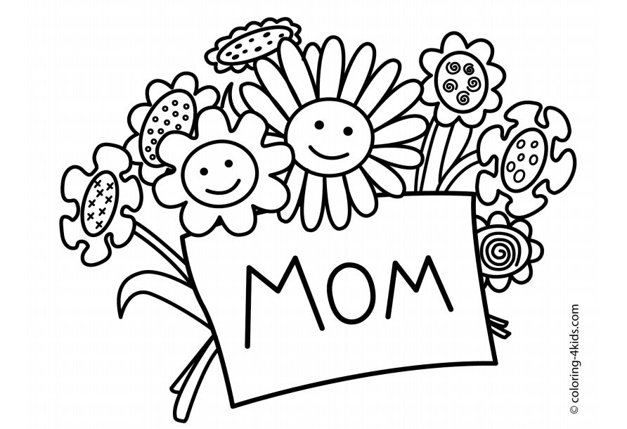 """A bouquet of smiling flowers holding a card that says """"Mom"""""""