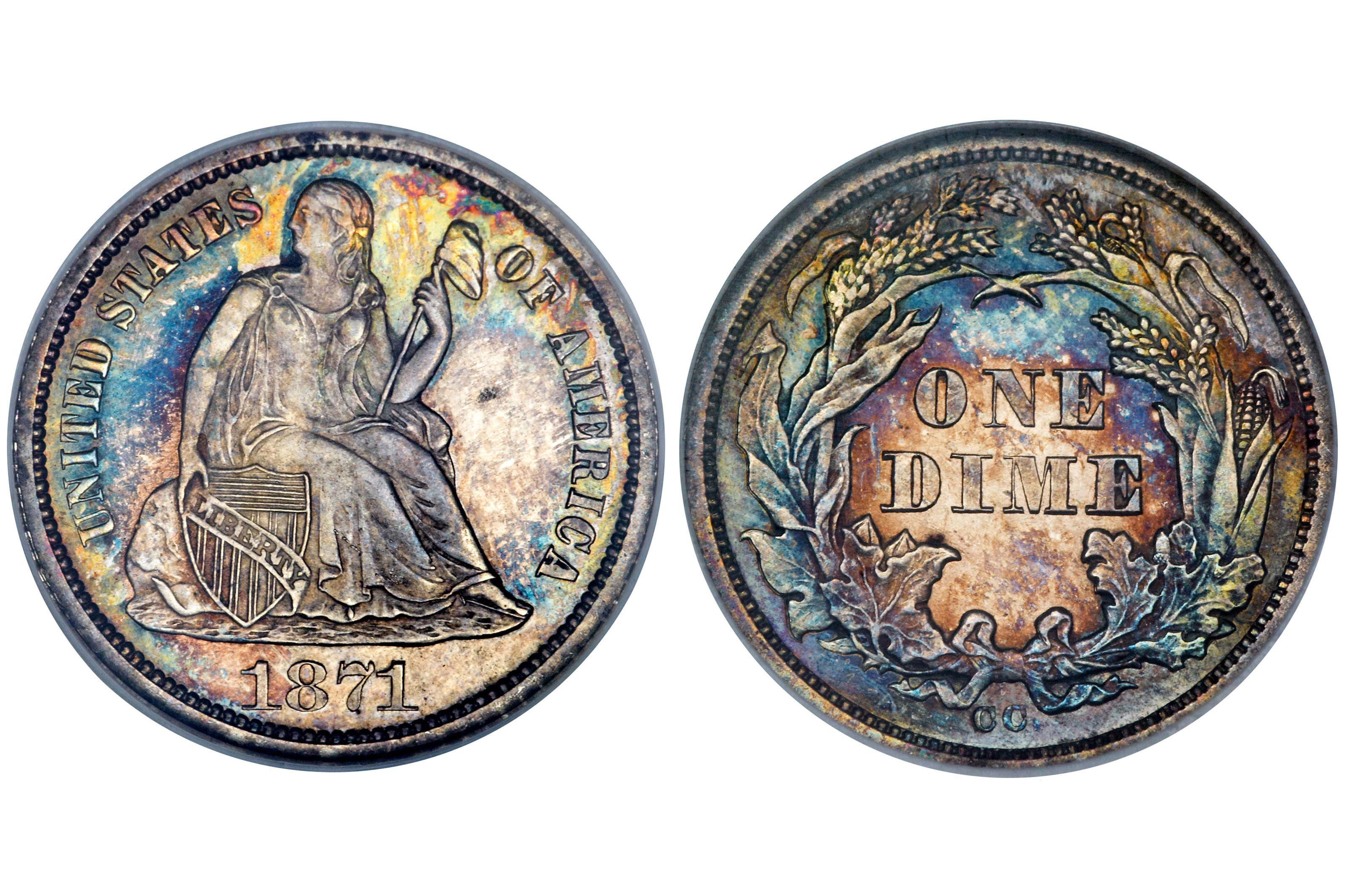 1871-CC Liberty Seated Dime