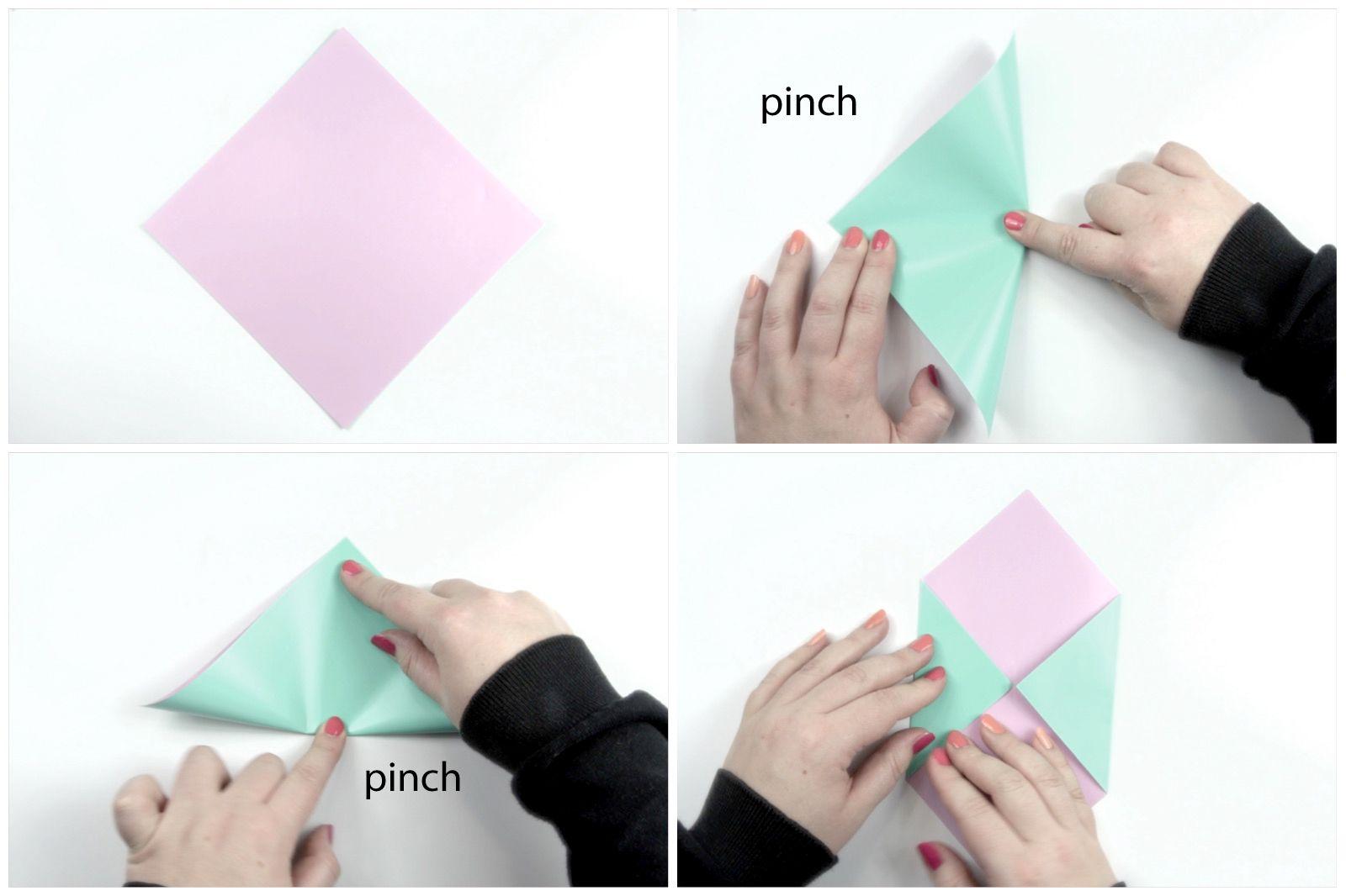 Beginning folds of an origami envelope