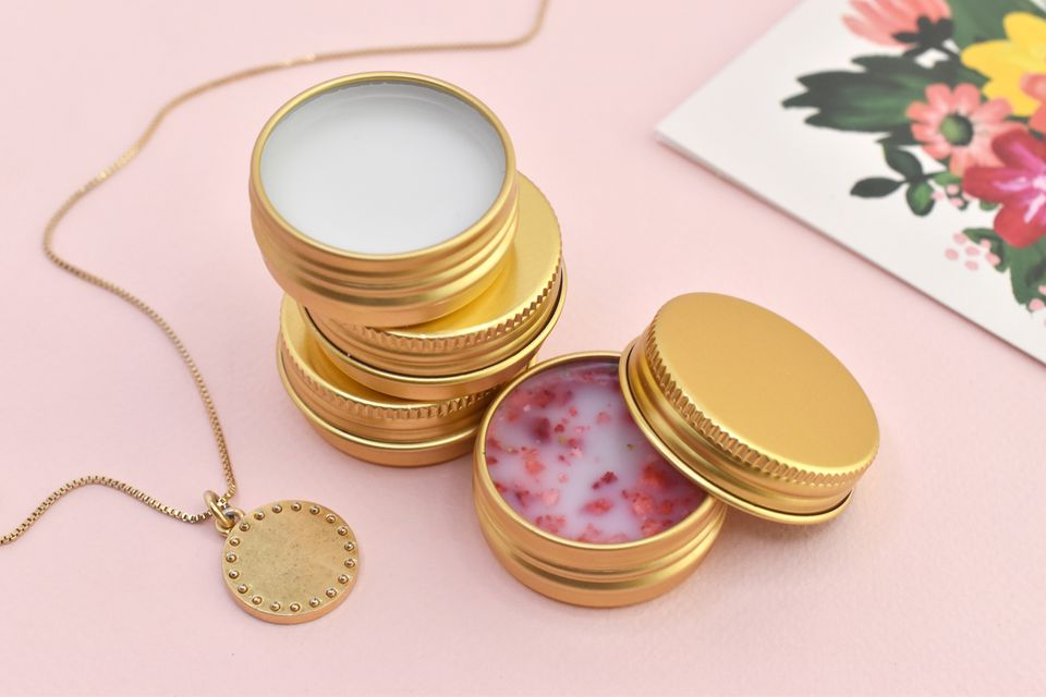 Three kinds of DIY lip balm in gold tins