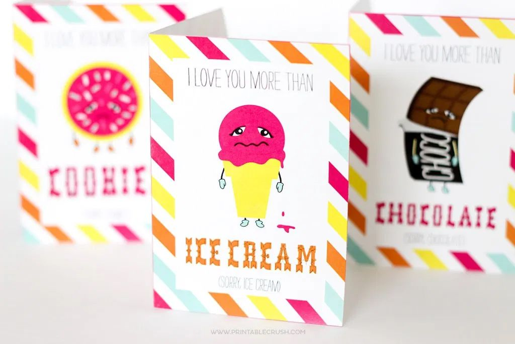 Funny valentines day cards on a table